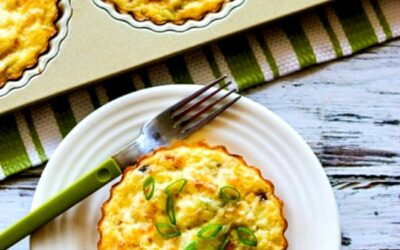 Tartas de desayuno sin corteza con champiñones y queso de cabra