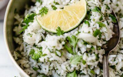 Receta instantánea de arroz con cilantro y lima y arroz