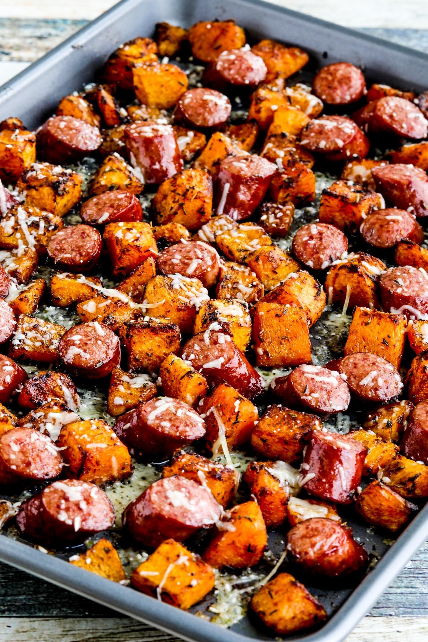 Bandeja de calabaza asada y salchicha – Kalyn's Kitchen