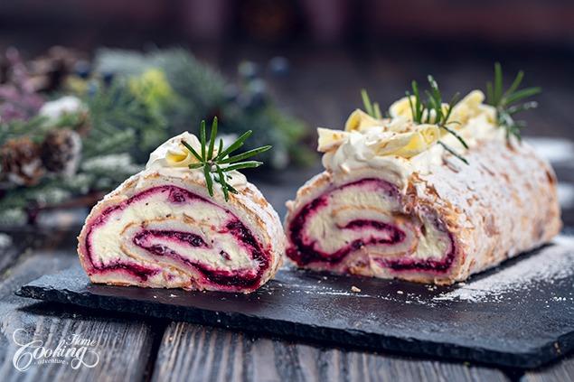 Rollo de merengue de chocolate blanco y arándanos :: Aventura de cocina casera