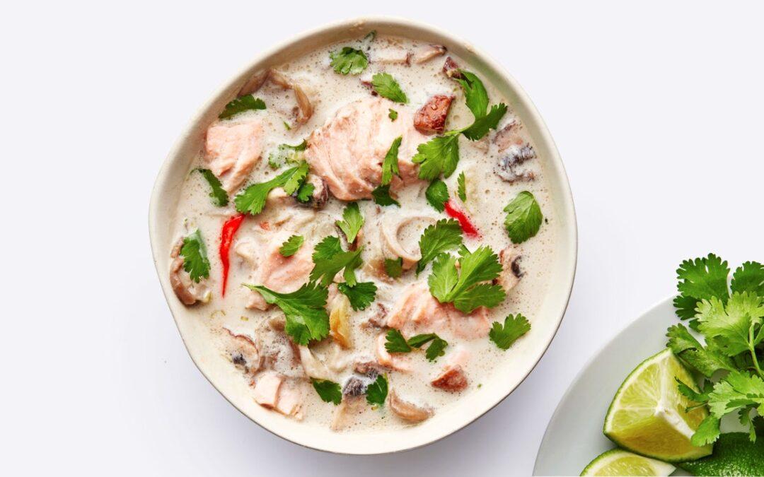 Receta de sopa de salmón y coco |  Buen provecho