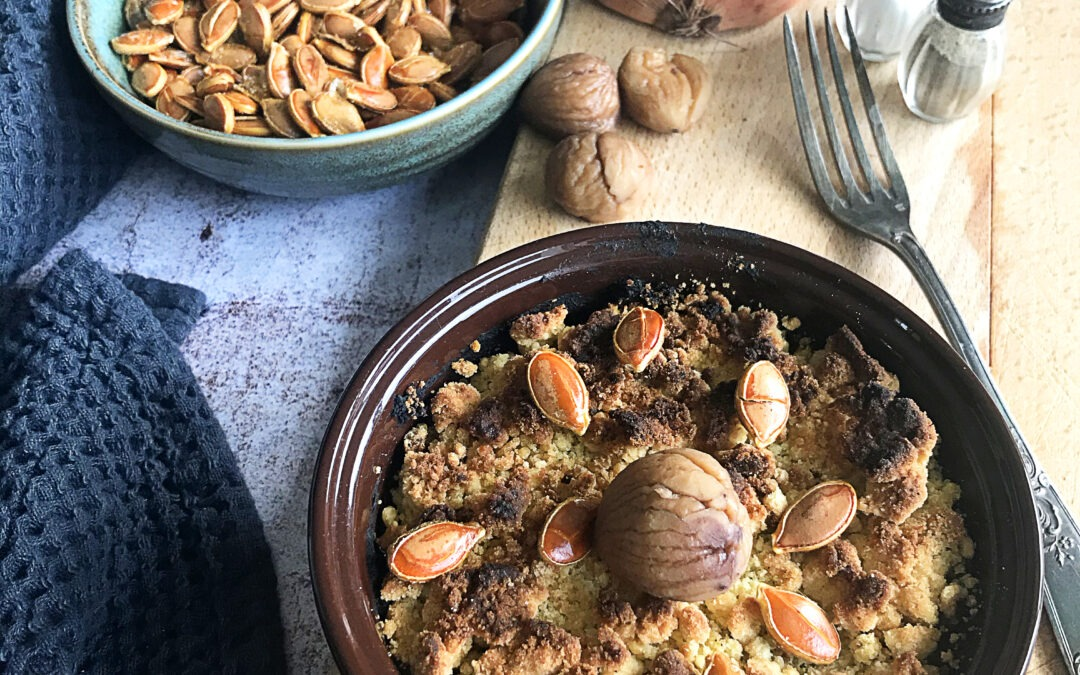 Crumble de otoño de calabaza y castañas: receta de crumble de otoño de calabaza y castañas